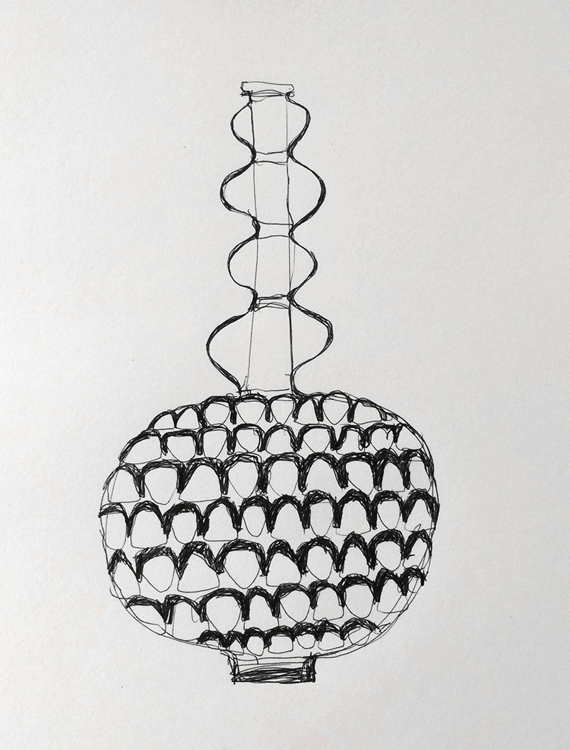 Vessel with Decorative Long Neck, Pen on paper, 11x14 2016